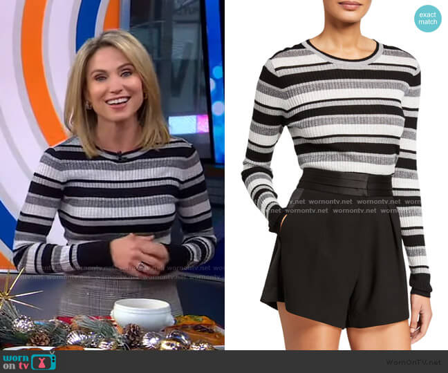 Panel-Stripe Metallic Ribbed Pullover Sweater by Frame worn by Amy Robach  on Good Morning America