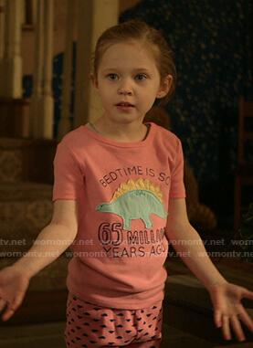 Franny's pink dinosaur patch pajamas on Shameless