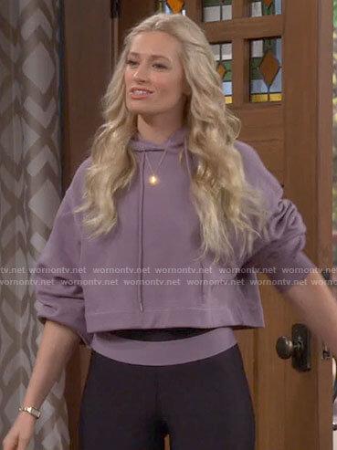 Gemma's purple cropped hoodie and leggings on The Neighborhood