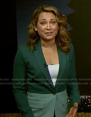 Ginger's green colorblock suit on Good Morning America