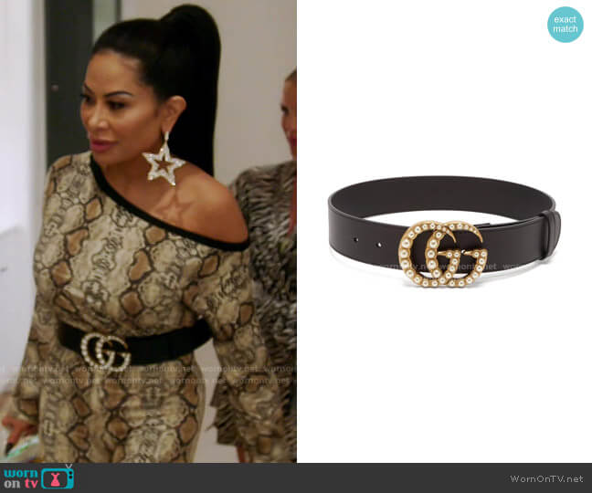 GG faux Pearl-Embellished Leather Belt by Gucci worn by Jen Shah  on The Real Housewives of Salt Lake City