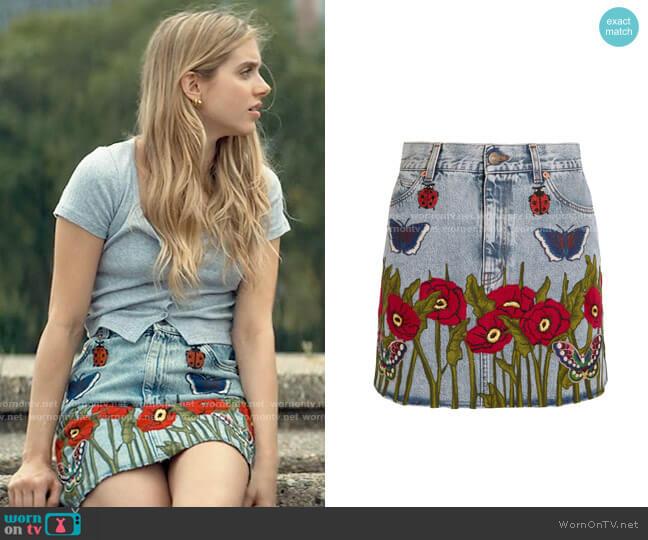 Gucci Appliquéd denim mini skirt worn by Bette Whitlaw (Casimere Jollette) on Tiny Pretty Things