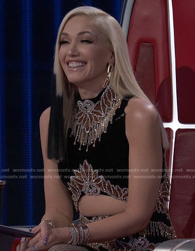 Gwen's black embellished cutout mini dress on The Voice