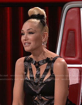 Gwen's embellished strappy gown on The Voice
