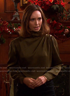 Gwen's khaki green button shoulder blouse on Days of our Lives