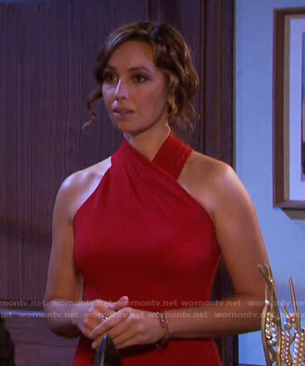 Gwen's red halter neck dress on Days of our Lives