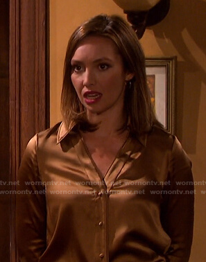 Gwen's brown button down blouse on Days of our Lives