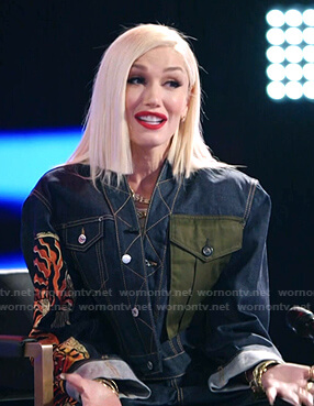 Gwen's tiger print denim jacket and jeans on The Voice