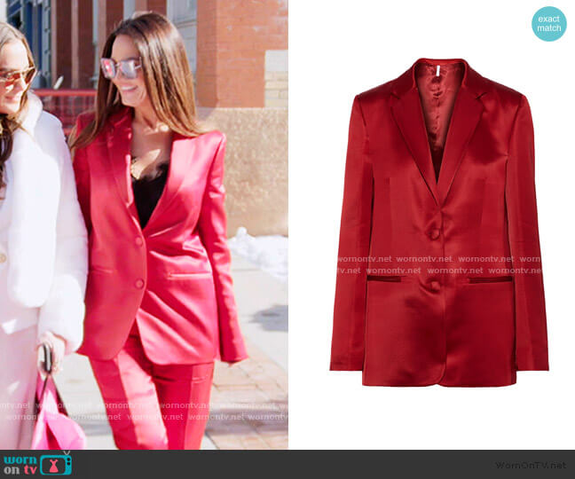 Satin-Twill Blazer by Helmut Lang worn by Lisa Barlow  on The Real Housewives of Salt Lake City