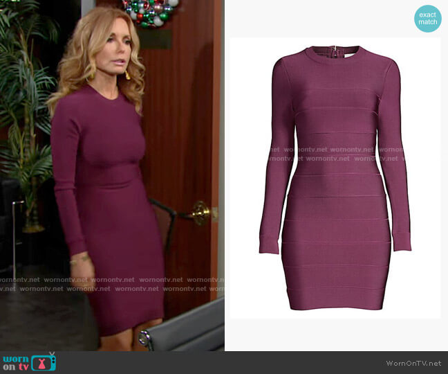 Herve Leger Mini Long-Sleeve Bodycon Dress worn by Lauren Fenmore (Tracey Bregman) on The Young & the Restless