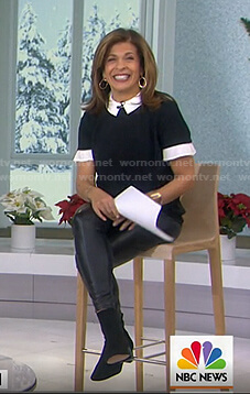 Hoda's black and white contrast collar top and leggings on Today