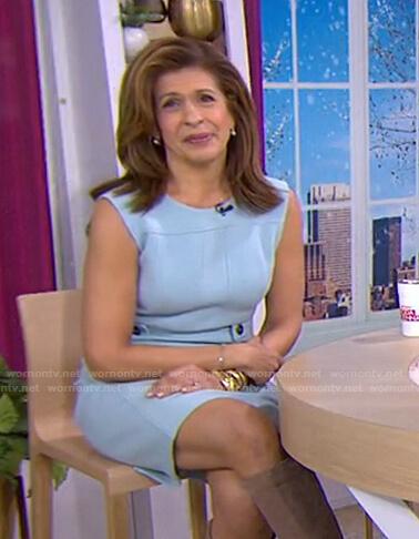 Hoda's light blue sleeveless dress on Today