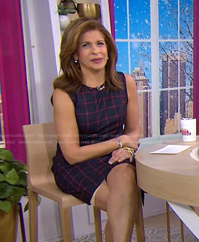 Hoda's navy grid check sleeveless dress on Today