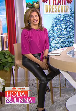 Hoda's pink tie waist top and leggings on Today