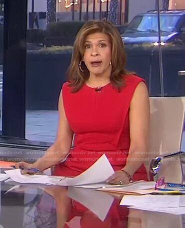 Hoda's red a-line dress on Today