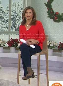 Hoda's red tie cuff sweater on Today