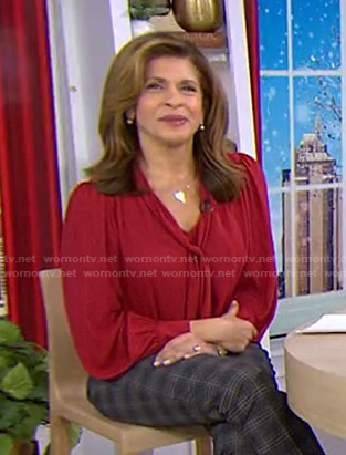 Hoda's red tie neck blouse on Today