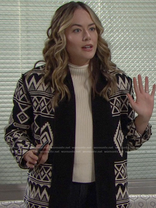 Hope's black and white patterned jacket on The Bold and the Beautiful
