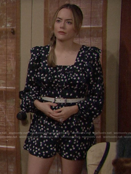 Hope's black daisy print romper on The Bold and the Beautiful