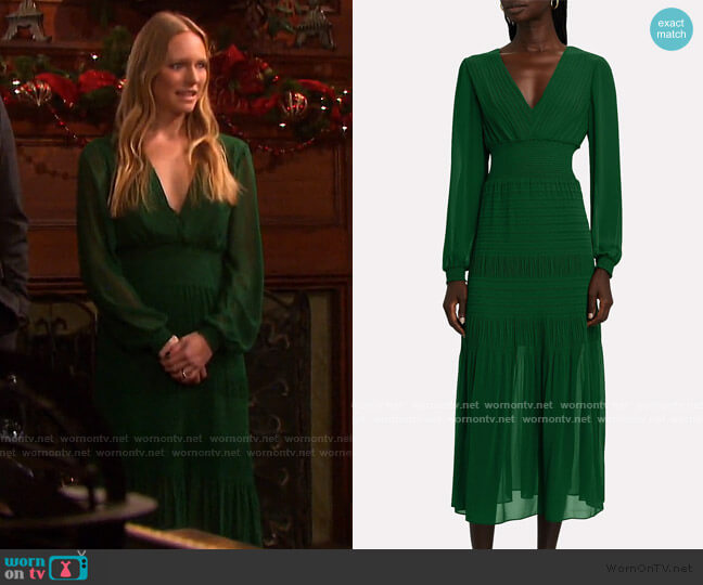Adrianna Smocked Midi Dress by Intermix worn by Abigail Deveraux (Marci Miller) on Days of our Lives