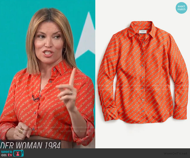 Collection Silk Twill shirt by J. Crew worn by Kit Hoover  on Access Hollywood
