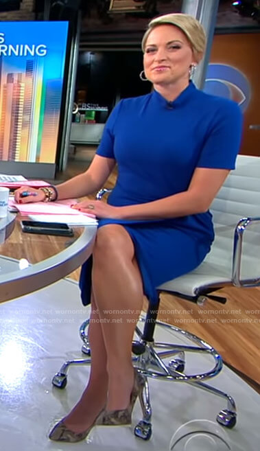 Jamie's blue twist front dress on CBS This Morning