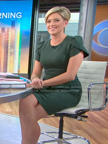 Jamie Yuccas's green suede dress on CBS This Morning