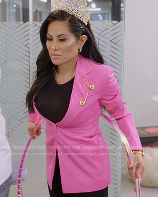 Jen's pink blazer with gold safety pins on The Real Housewives of Salt Lake City