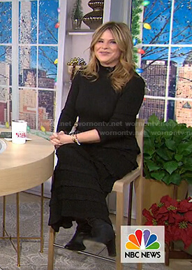 Jenna's black ruffled midi dress on Today