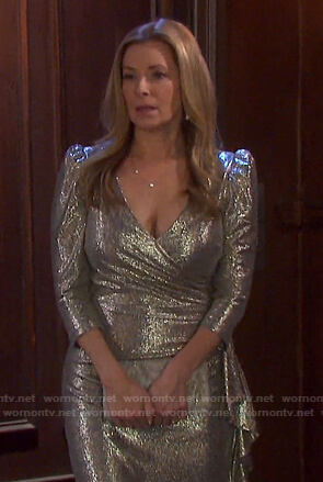 Jennifer's metallic ruffle side dress on Days of our Lives