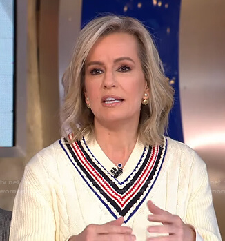 Jennifer's white cable knit v-neck sweater on Good Morning America