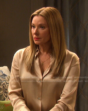 Jennifer's yellow satin blouse on Days of our Lives