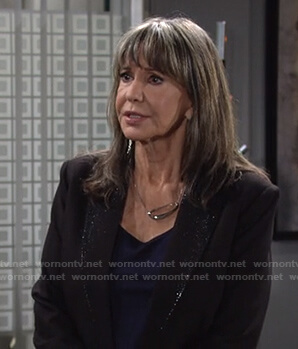 Jill's black embellished lapel blazer on The Young and the Restless