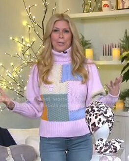 Jill's pink colorblock turtleneck sweater on Today