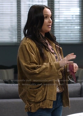 Jo's yellow embroidered jacket on Greys Anatomy