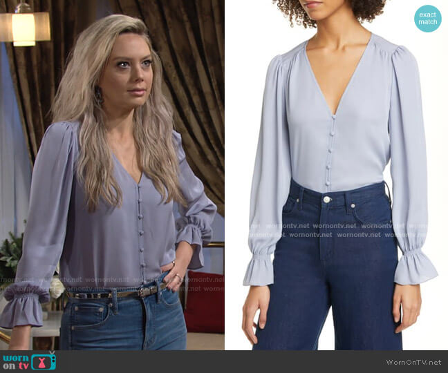 Bolona Button Front Blouse by Joie worn by Abby Newman (Melissa Ordway) on The Young & the Restless