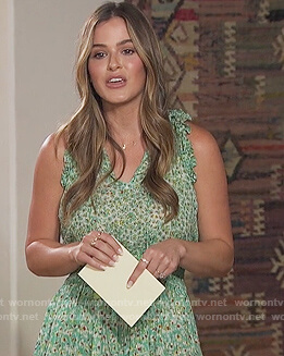 Jojo Fletcher's green floral print mini dress on The Bachelorette