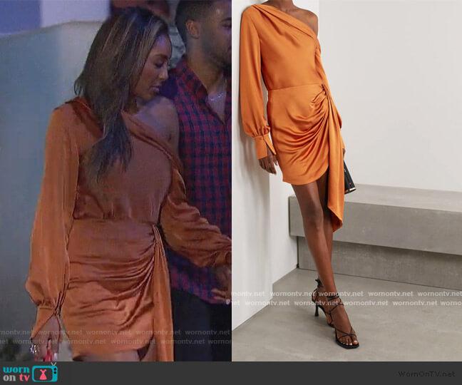 Alice draped one-shoulder satin blouse and drape skirt by Jonathan Simkhai worn by Tayshia Adams  on The Bachelorette
