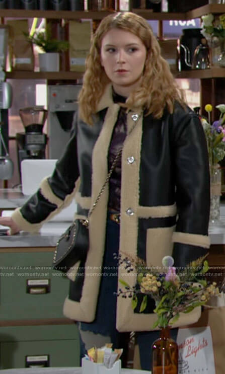 Jordan's leather and shearling coat on The Young and the Restless