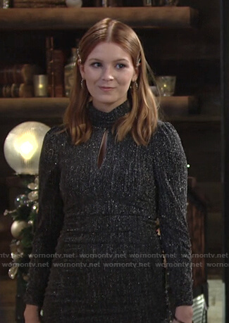 Jordan's metallic keyhole dress on The Young and the Restless