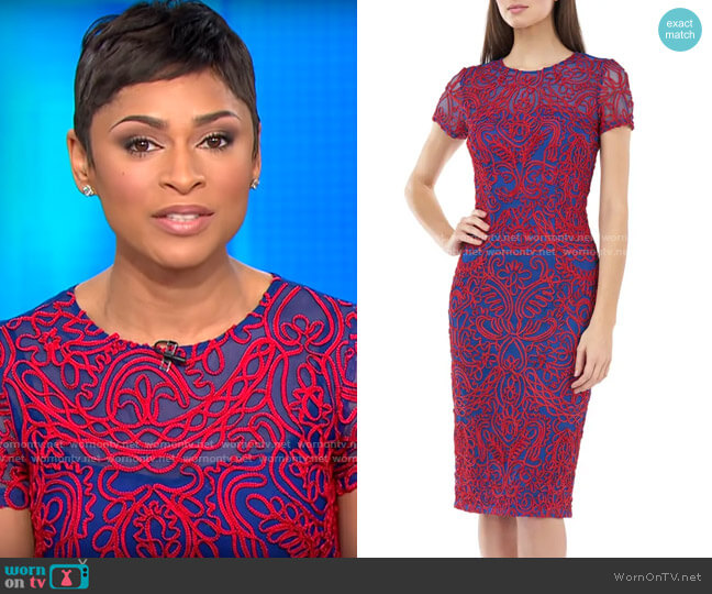 JS Collections Soutache Chiffon Cocktail Dress worn by Jericka Duncan  on CBS This Morning