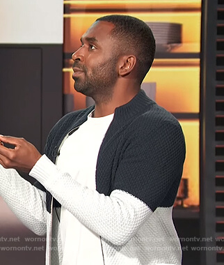 Justin's colorblock zip down sweater on E! News Daily Pop