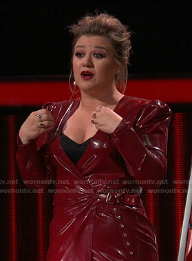 Kelly's red latex wrap dress on The Voice