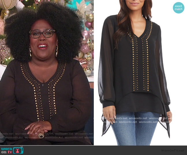 Studded Layered Hem Top by Karen Kane worn by Sheryl Underwood  on The Talk