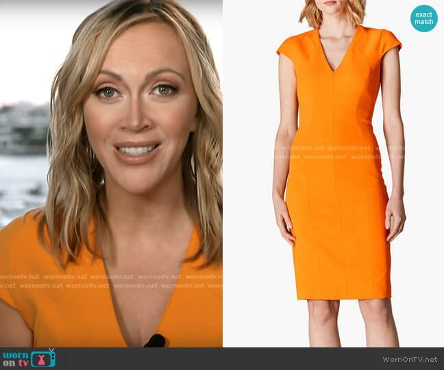 Karen Millen Cap Sleeve Pencil Dress worn by Paula Reid on CBS This Morning