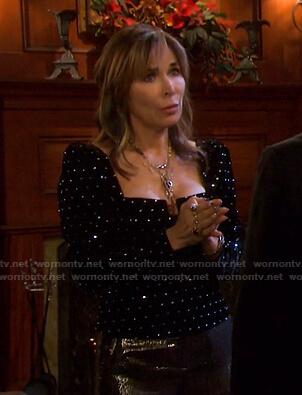Kate's black embellished velvet top on Days of our Lives