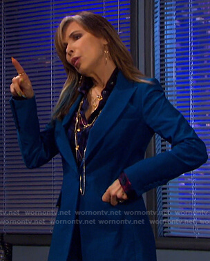 Kate's blue single button blazer and pants on Days of our Lives