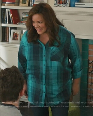 Katie's green plaid shirt on American Housewife