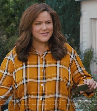 Katie's yellow plaid shirt on American Housewife