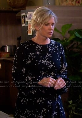 Kayla's black floral print mini dress on Days of our Lives